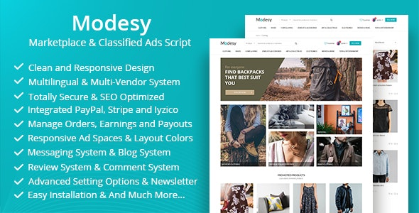Modesy - Скрипт торговой площадки и объявлений v1.7