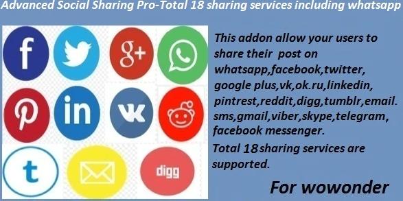 Advanced Social Sharing Pro For WoWonder - 9 June 2021